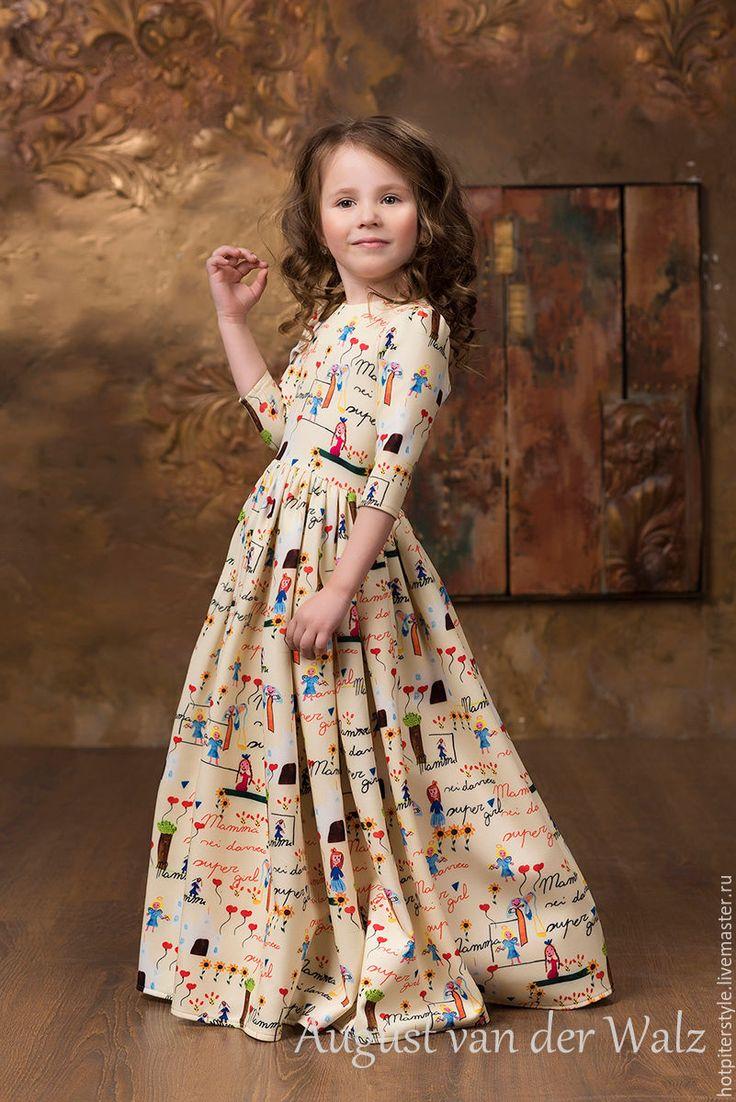 """Купить """"Мамина Дочка"""" - Family Look - Платье для Мамы - желтый, рисунок, деловое платье, силуэт"""