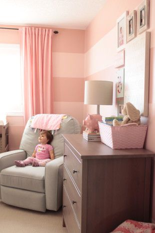Pink Striped Nursery Walls