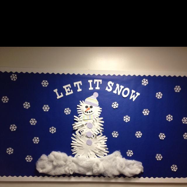 January bulletin board. Student hands make the snowman.