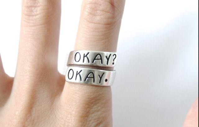 Okay? Okay. Ring from the movie 'the fault in our stars' #okayokay #ring #movie #fashion #jewellery #girls #makabelleshop www.makabelle.com