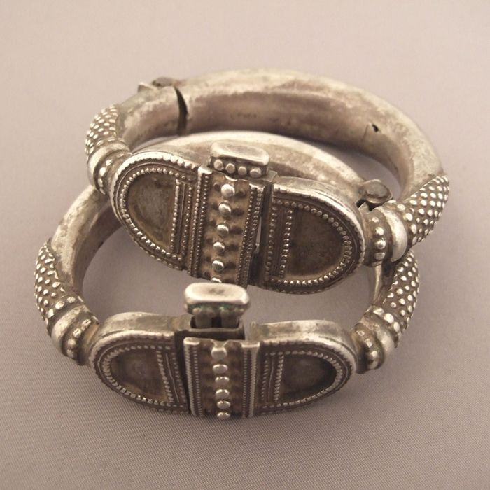 Silver, India - This pair of old bracelets of Rajasthan with its geometric patterns is remarkable for its work granulation