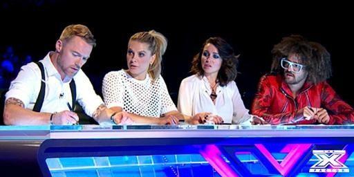 Xfactor Australia Judges- Bootcamp. Ronan Keating, Natalie Bassingthwaighte, Dannii Minogue, Redfoo