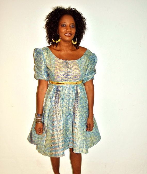 Blue Ankara Print African Short Dress Ankara Print by ZabbaDesigns, $80.00 #AfricaFashion #AfricanPrints