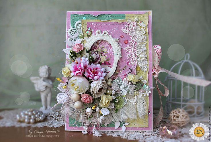 """Купить Открытка """"Цветущая весна"""" - бледно-розовый, открытка, открытка на заказ, открытка на свадьбу"""