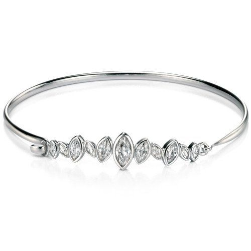 Fiorelli Silver White Cubic Zirconia Eternity Shaped Bangle ozvghJx