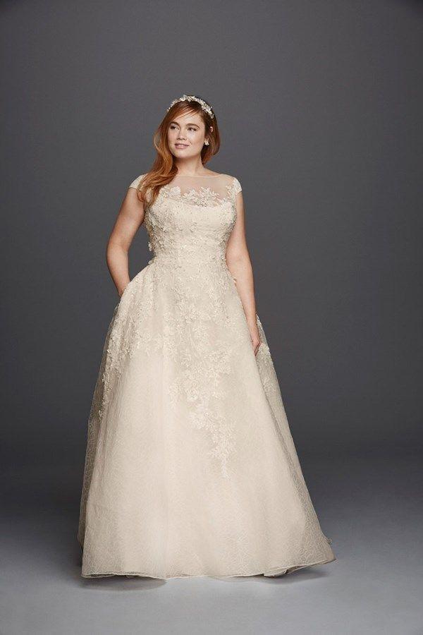 Off-the-shoulder plus size wedding dress
