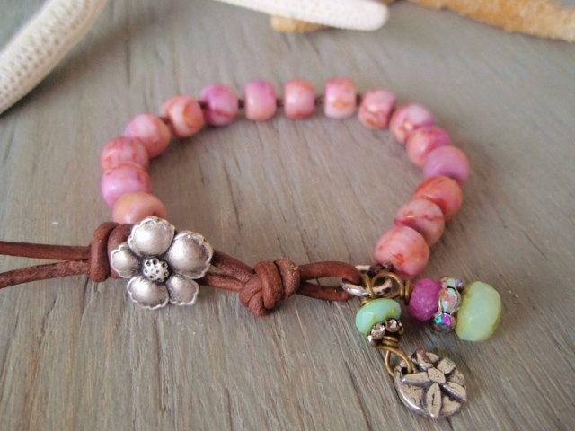 Pink bracelet - Island Boho - bubblegum pink, slashKnots slipKnots  Sterling silver charm leather, surfer beach bohemian , spring summer. $62.00, via Etsy.