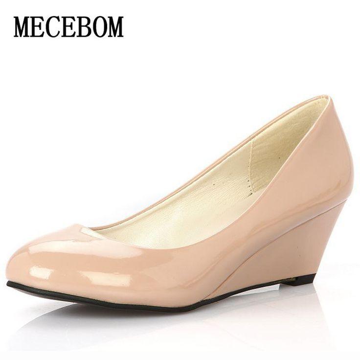 Barato Mulheres Primavera Cunhas brancos sapatos de Cunha casamento Elegante Dama de Honra Sapatos Dedo Apontado Mulheres Sapatos Dedo Do Pé Redondo Sapatos de Trabalho, Compro Qualidade Bombas das mulheres diretamente de fornecedores da China: