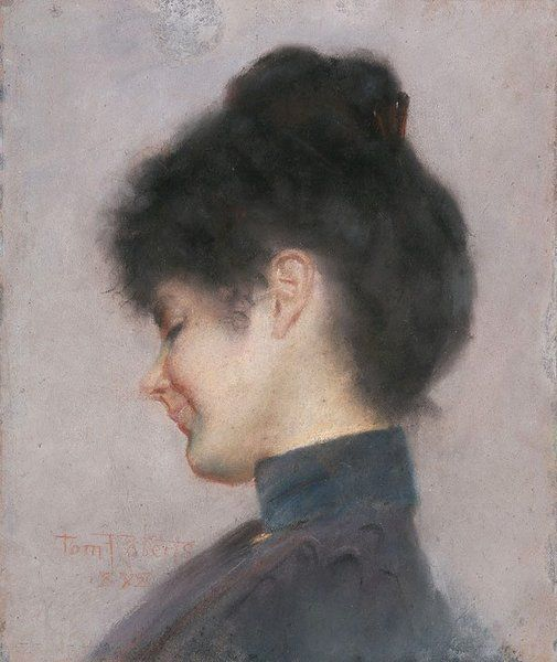 """An image of Miss Florence Greaves by Tom Roberts / Signed and dated l.l., red pastel """"Tom Roberts/ 1898""""."""