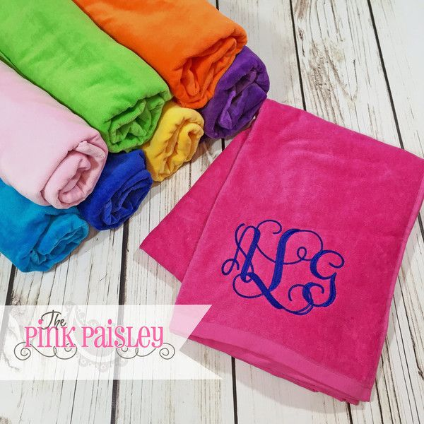 Monogram Beach Towel Personalized Towel Big Monogram Beach Towel (2890 RSD) ❤ liked on Polyvore featuring home, bed & bath, bath, beach towels, bath & beauty, pink, spa & relaxation, personalized beach towels, embroidered beach towels and monogrammed beach towels