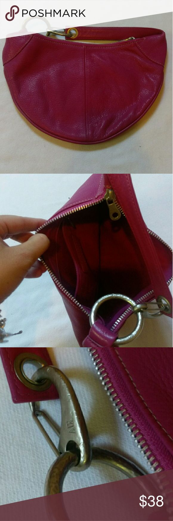 Armani Exchange Purse Authentic Armani Exchange  Pink Leather  Silver Zipper and details Armani Exchange Bags Mini Bags