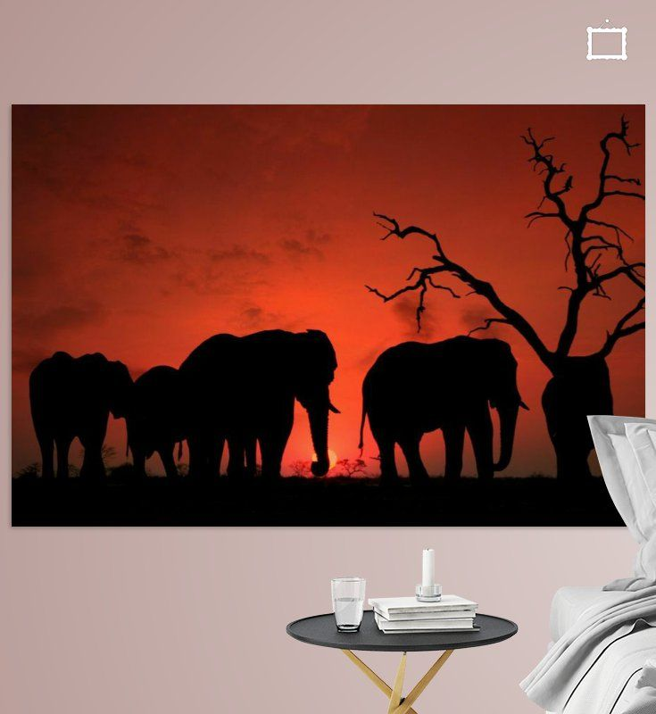 Nieuw in mijn Werk aan de Muur shop: Zonsondergang in Afrika (Elephant sunset)