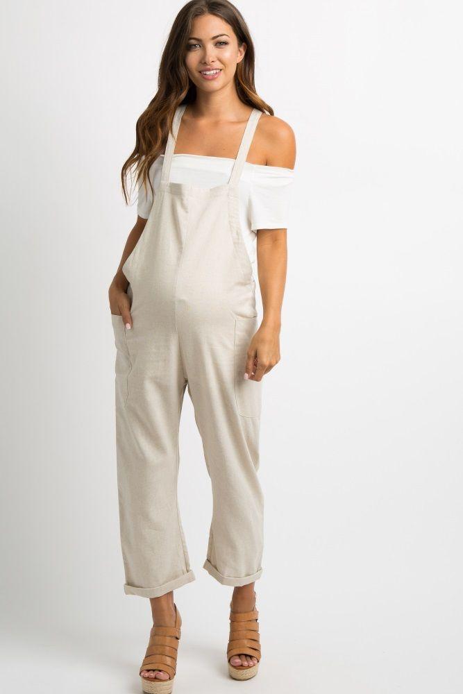 06571a8334e0c Beige Cuffed Linen Maternity Overalls in 2019 | preggo style | Maternity  jumpsuit, Maternity romper, Maternity skinny jeans