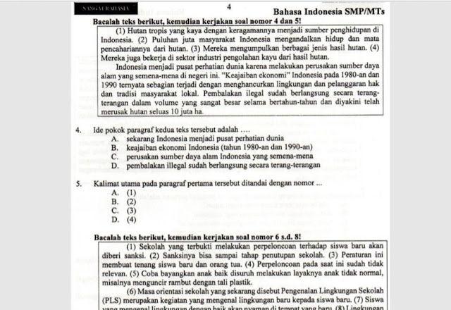 Download Soal Latihan UNBK SMP 2018 Bahasa Indonesia