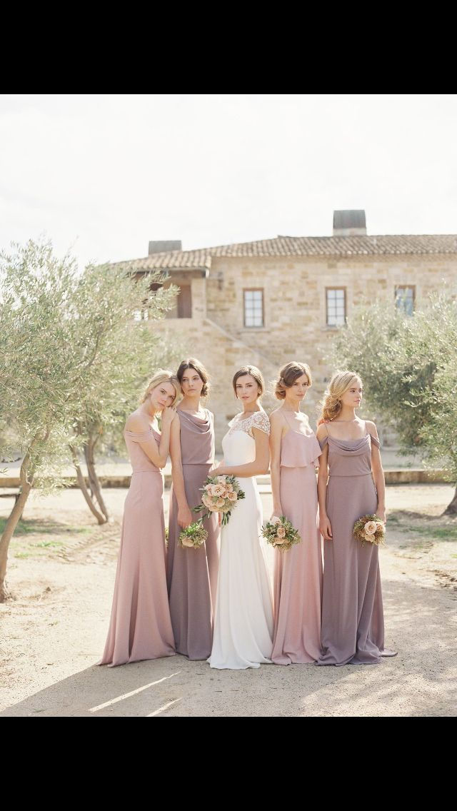 Dusky pink and lilac bridesmaids - Jenny Yoo