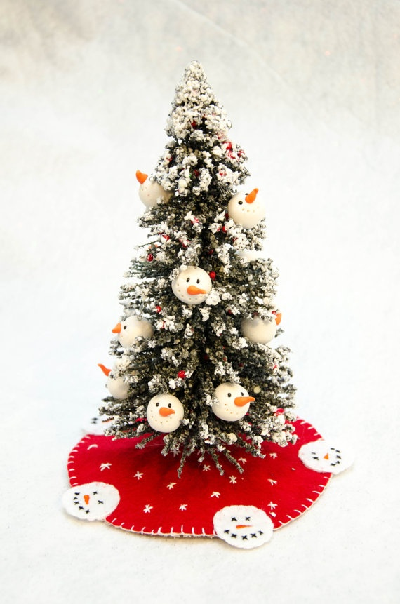 Miniature Christmas Tree with Snowman Ornaments by SnazzyScissors, $12.00