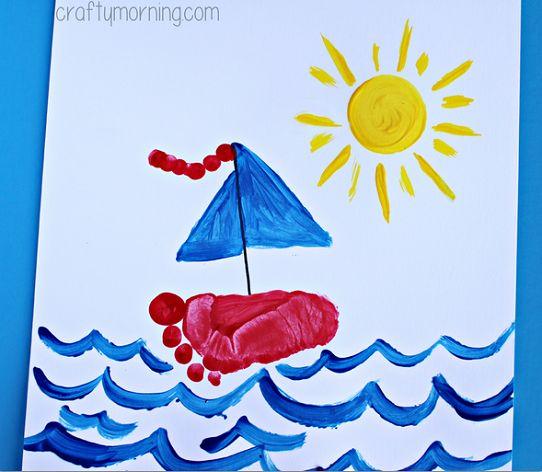 footprint sailboat craft for kids