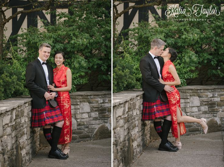 Bride and traditional chinese dress, groom in kilt. Toronto Old Mill wedding photography.