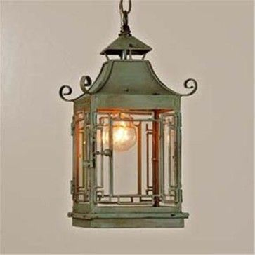 Wow this could be great for the entrance to the guest cottage... love it with the antique rug!!! Pagoda Lantern asian pendant lighting