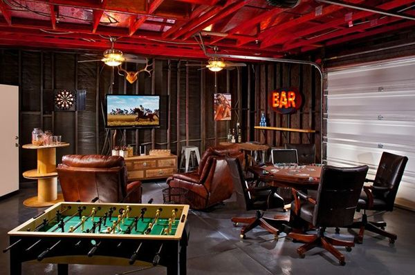 cool garage man cave game room