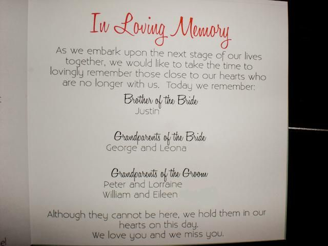 Ways to honor deceased loved ones at your wedding: Set up a memory table at the reception with photos of family and friends who have passed away. Description from pinterest.com. I searched for this on bing.com/images