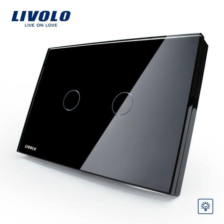 Livolo Сенсорный выключатель, VL-C302D-82, хрусталь Стеклянные Панели, США/АС стандартный, диммер Управления Сенсорный Настенный Выключатель Света/Домашней Автоматизации
