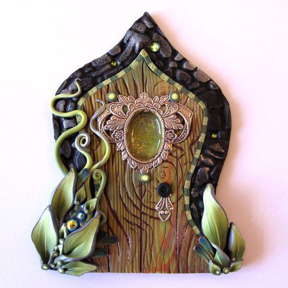 The Green Fairy Fairy Door Pixie Portal Absinthe by Claybykim, $25.00