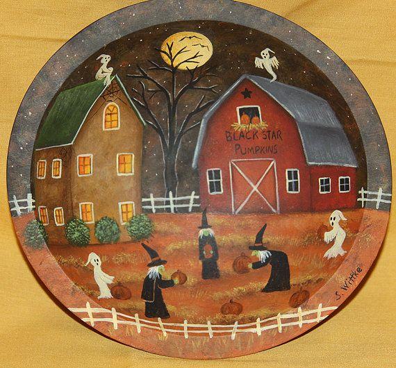 Halloween Folk Art Hand Painted Vintage Primitive by Ravensbend, $18.00