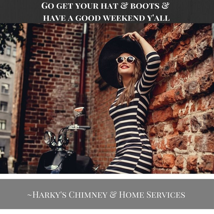 Get your hat, get your boots! Have a great weekend y'all! #harkyshome #boots #hat #bricks #weekend #fireplace #chimney #create #inspiration #goforit #precision #quality #care #homeservices #home #remodel #brick #sunglasses #stripes #dress #Houston #Austin #SanAntonio