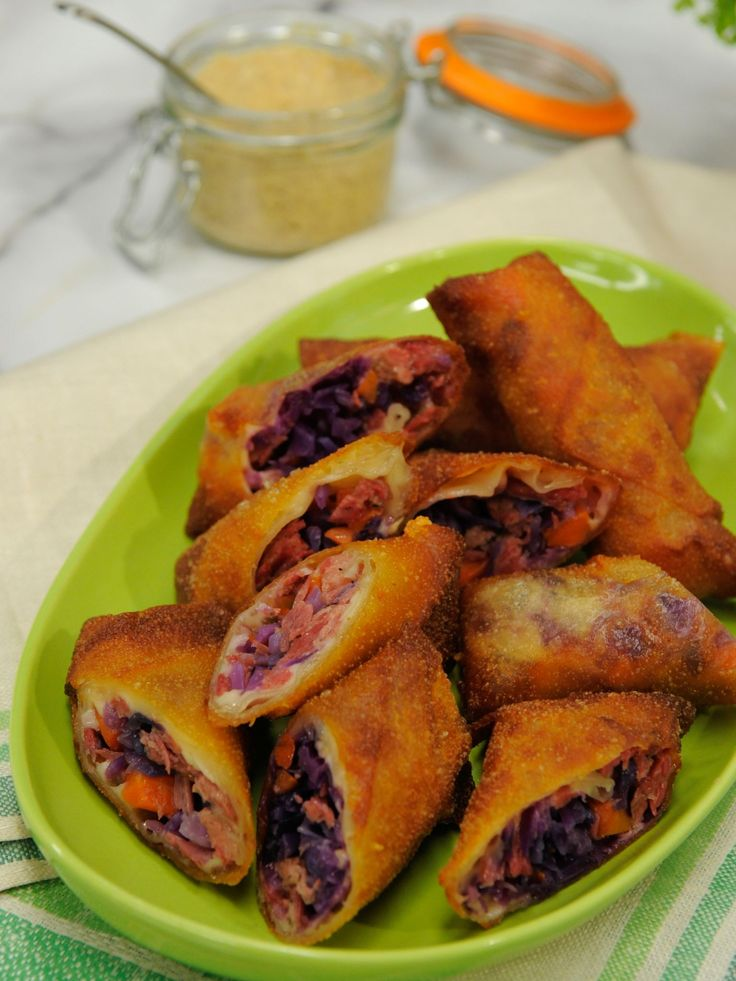 Jeff Mauro's Irish Egg Rolls - You can use leftover corned beef and cabbage to make these yummy egg rolls. http://www.foodnetwork.com/recipes/jeff-mauro/irish-egg-rolls.html