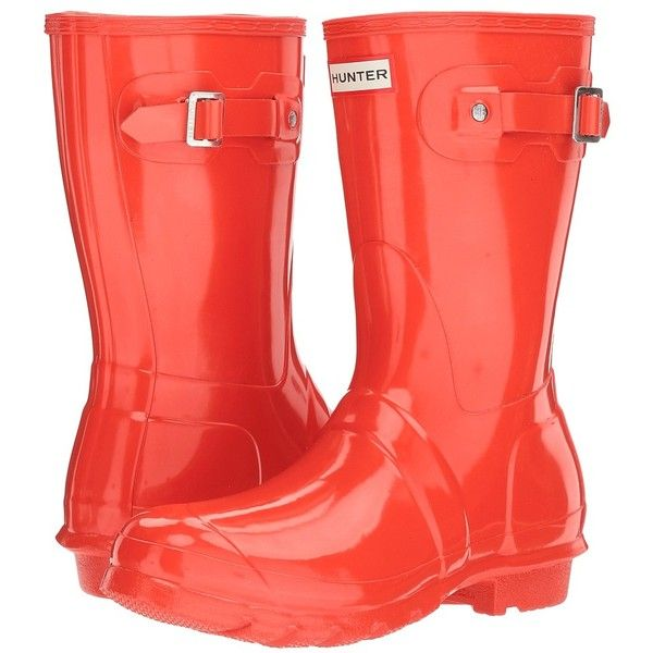 Hunter Original Short Gloss (Orange) Women's Rain Boots (8.400 RUB) ❤ liked on Polyvore featuring shoes, boots, mid-calf boots, short boots, low heel boots, wellington boots, short rain boots and pull on boots