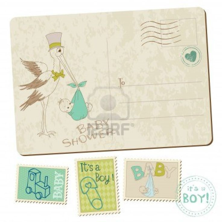 Vintage Baby Boy Shower or Arrival Postcard with stork in vector Stock Photo