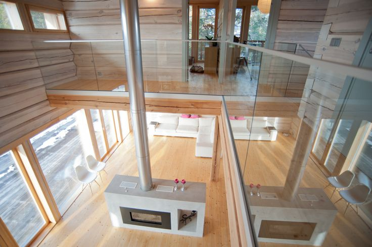 Modern log house, view from upstairs.