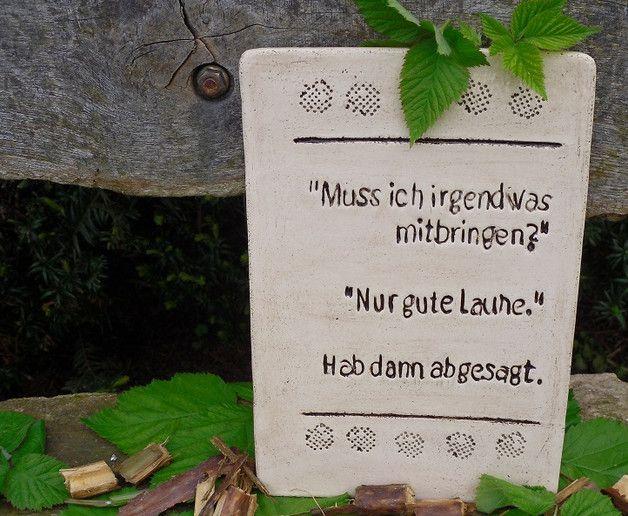 Lustiges Keramikschild für Pessimisten, Gartendeko / funny sign with quote, garden decoration made by Töpferkellerchen via DaWanda.com