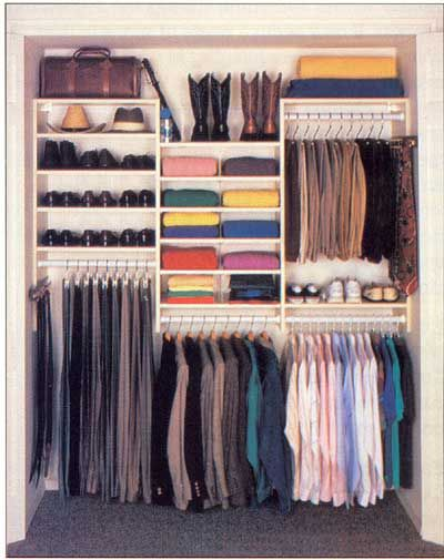 All the room in a man's closet can be double-rodded, since nothing is longer than a suit coat or shirt. And the height of the shoe shelves need not extend above the height of his dress shoes or cushioned running shoes.