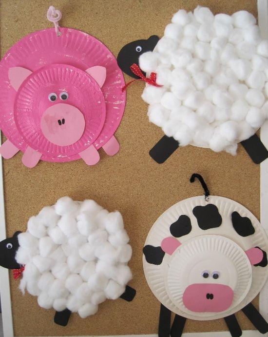 artesanato infantil com pratos de papel-animais