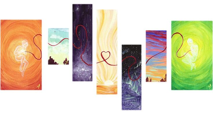 'Where your heart lives' - Ein #Acryl Gemälde von Christina Busse | www.christinabusse.de | #Karton | 60x30cm | Entstehungsjahr 2011 | #Ferne #Liebe