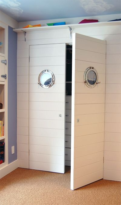 Porthole Mirrors On A Closet For A Nautical Kids Room.