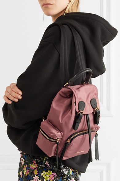 Burberry - Small Leather-trimmed Gabardine Backpack - Pink - one size