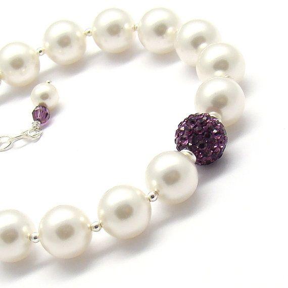 Perlas nupcial Pulsera amatista cristales Swarovski por martaky, $48.00