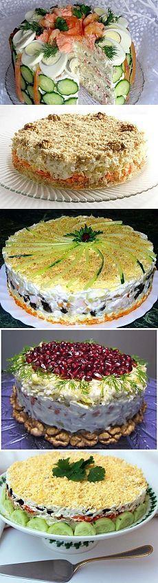 Подборка из 10 лучших закусочных салатов-тортов к праздникам!