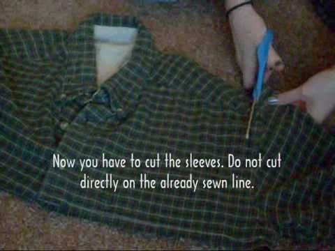 How to make: Flannel Tunic Shirt dress from men's shirt