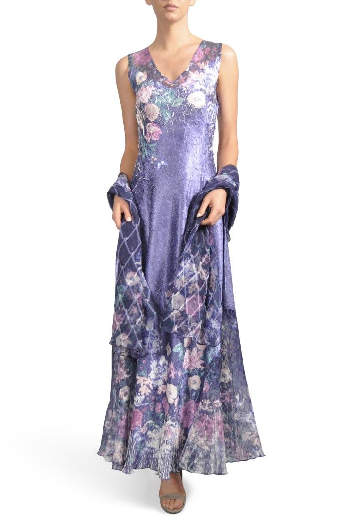 5b20dc6600 Main Image - Komarov Lace-Up Back Maxi Dress with Wrap (Regular   Petite)