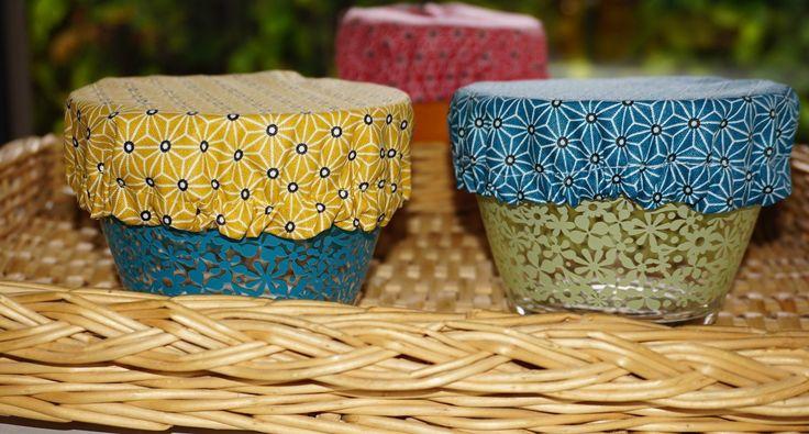 """Charlotte """"design japonais"""" pour ramequin ou mug, coton enduit, 8 à 11 cm de diamètre : Cuisine et service de table par bila-touchatou"""