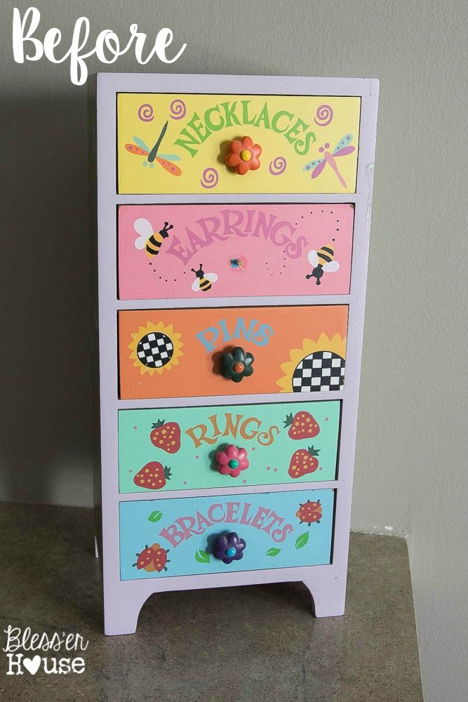 Such a nice look from an old kids jewelry box.  Industrial Office Supply Organizer From an Old Jewelry Box | Bless'er House