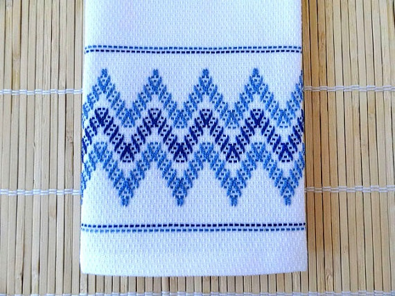 Tea Towel Dish Towel Swedish Weaving Blue by SnowboundMe on Etsy, $16.00