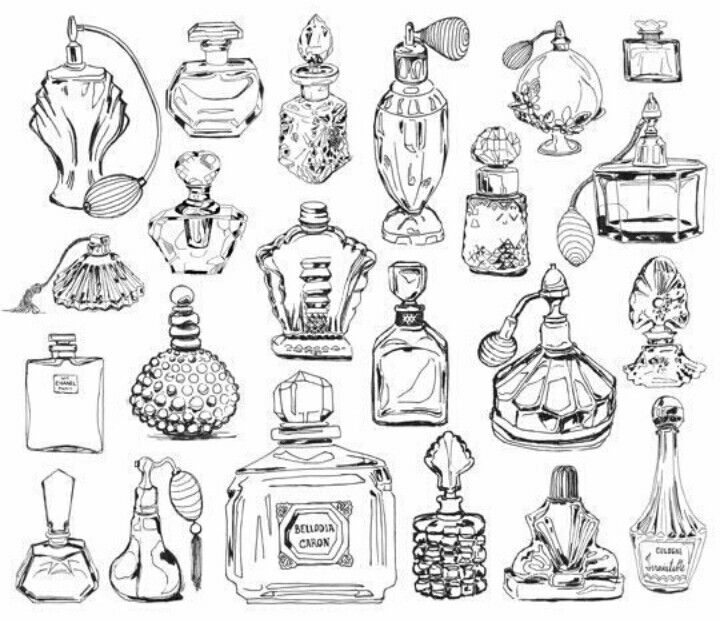 Old Fashioned Perfume Bottle Drawings For A Ladylike Painting