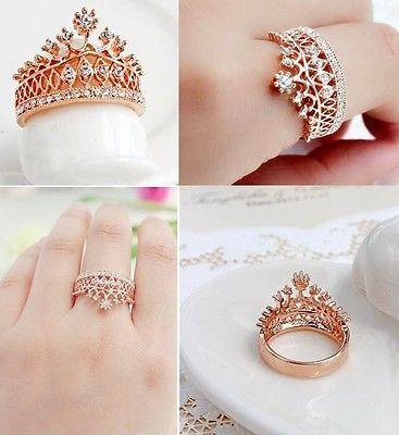 18K White Gold GP Austrian Crystal Cubic Zirconia Crown Tiara Wedding Ring R29B | eBay