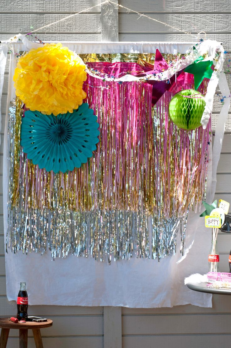 DIY Selfie Station | POPSUGAR Home -- coordinate with event colours! Remember to bring Command hooks to hang it with!