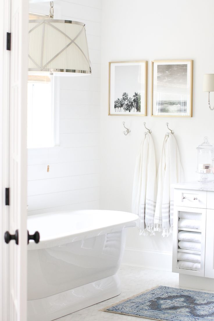 White Bathroom Large Light Fixture Over Tub Wall Decor Pictures Hooks Blue Rug In Free S Bathrooms We Love